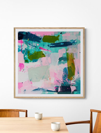 'Flourish 4' // 50 X 50cm // Pink, geen original abstract painting on canvas