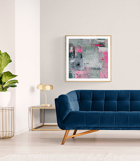 'No Holding Back' // Abstract Art Print // Pink, grey, white Painting