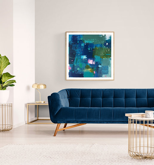 Openness 5 // Irish Abstract Art // Blue, pink, turquoise painting