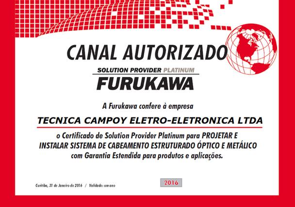 CAMPOY Tecnologia foi elevada a categoria Solution Provider Platinum Furukawa