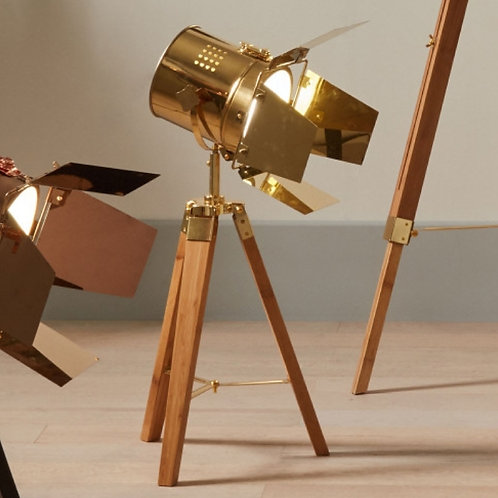 Pacific Hereford gold & natural tripod table lamp