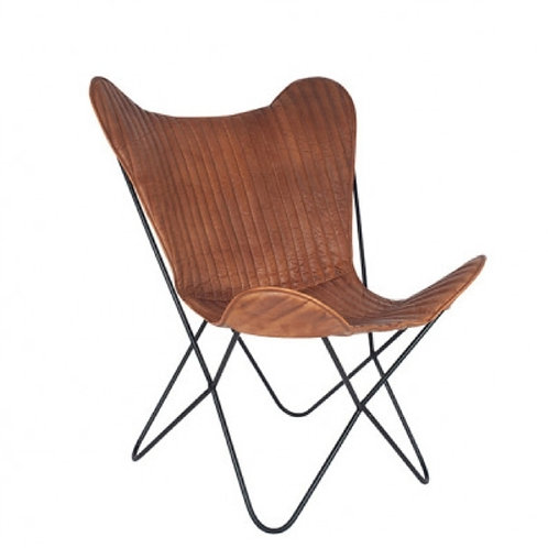 Pacific vintage brown leather & iron butterfly chair