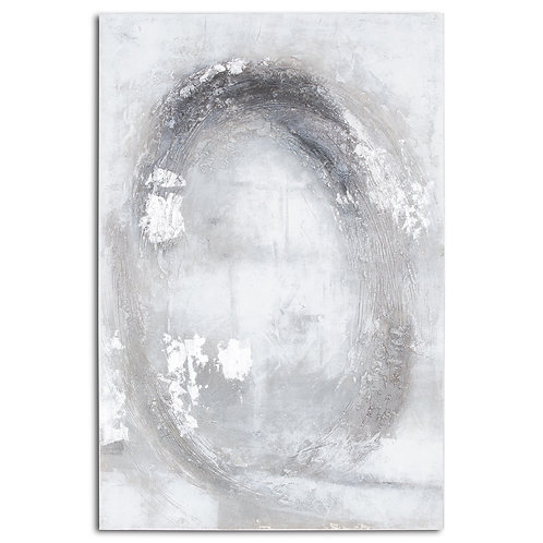 Large silver & grey hand painted canvas