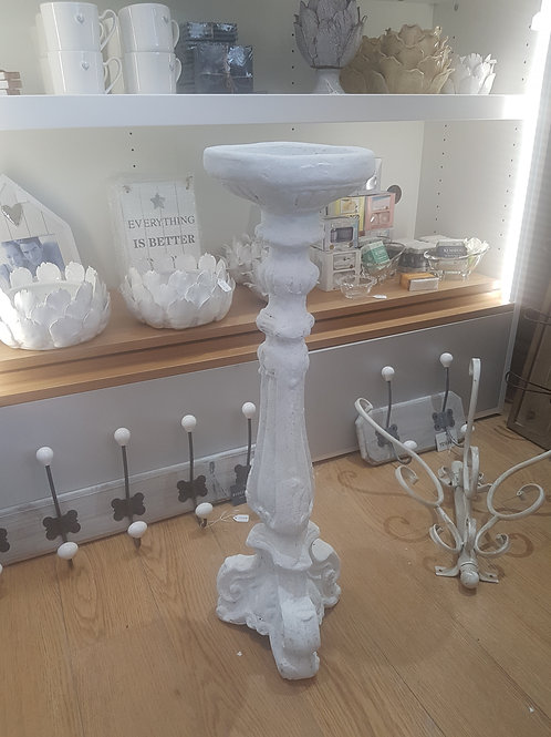 Tall white candle holder