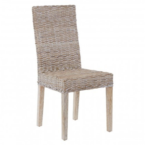 Pale rattan dining chair