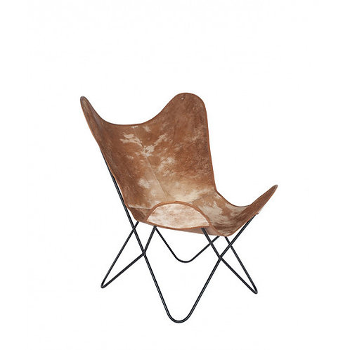 Pacific hide leather & iron butterfly chair