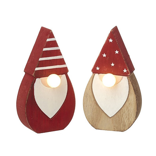 Set of 2  Santas With Light Up Noses