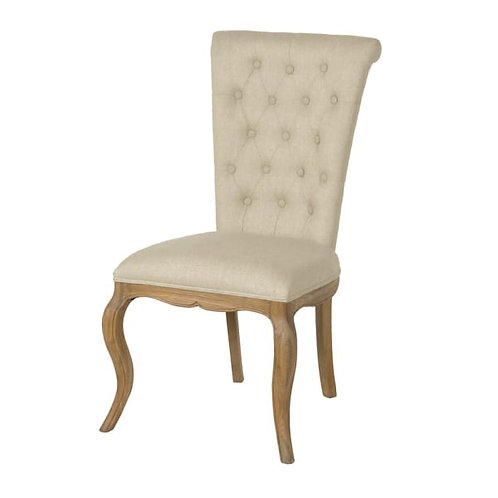 Linen and Weathered Oak Dining Chair