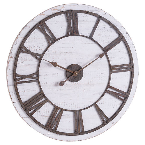 Rustic wooden clock with aged numbers