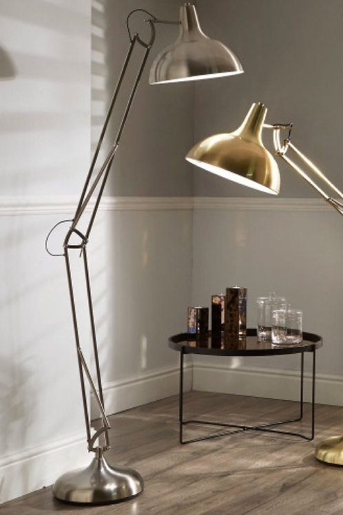 Alonzo brushed silver task floor lamp by Pacific
