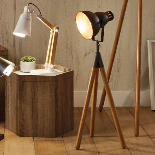 Larkin metal natural wood tripod table lamp by Pacific