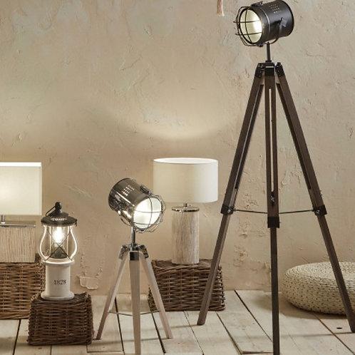 Bullseye grey metal antique wood tripod floor lamp
