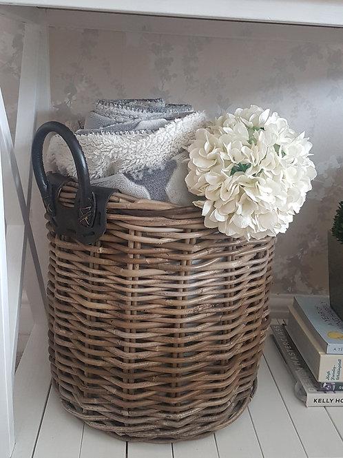 Leather handled log basket