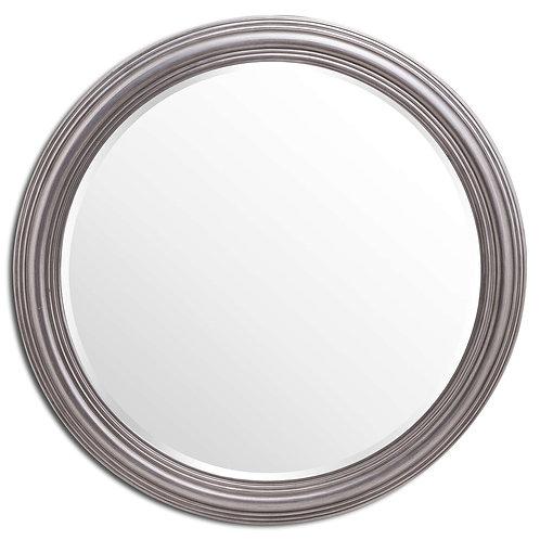 Large Circular Silver Rimmed Wall Mirror