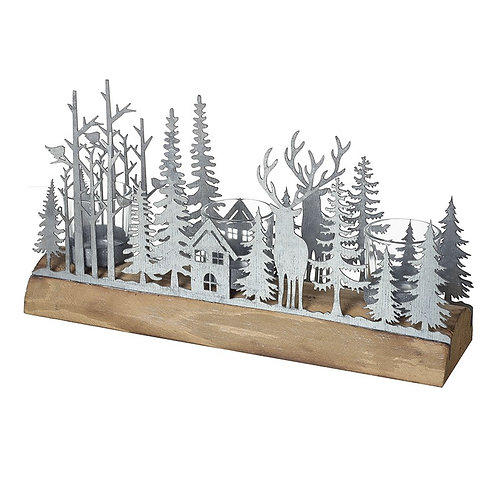 Metal Forest Scene T-Light Holder