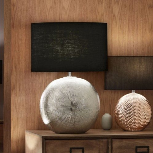 Alpha silver textured ceramic table lamp