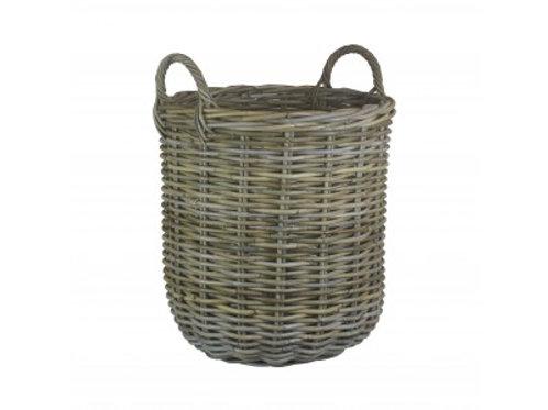 Medium grey rattan log basket