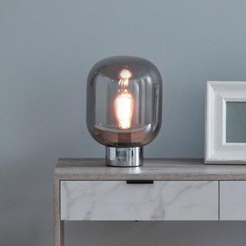 Caserta smoke glass ball & chrome table lamp