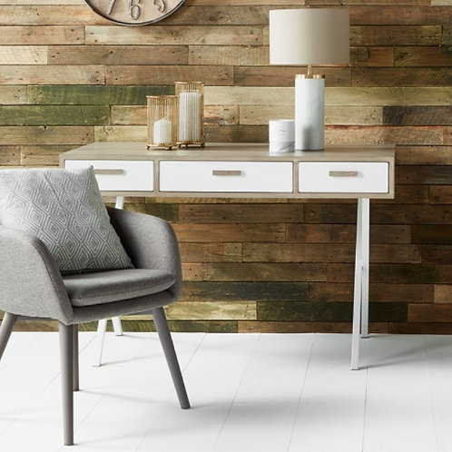Pacific natural white wood 3 drawer desk
