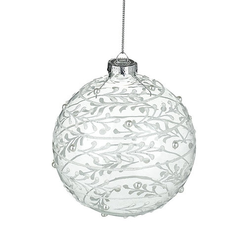 White & Clear Glass Bauble