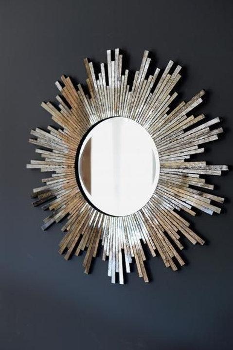 Silver Glass Starburst Mirror