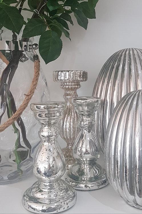 Extra Small Shiny Silver Candleholder