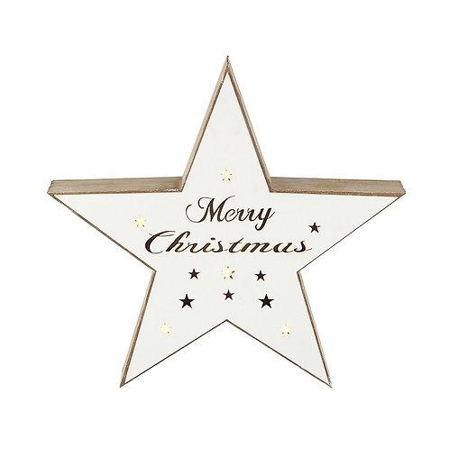 White Merry Christmas Light Up Star