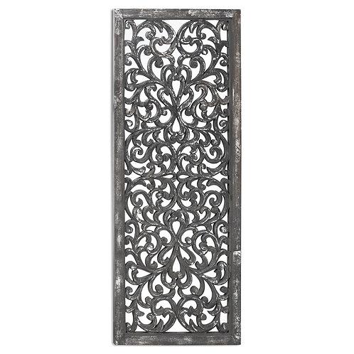 Carved antique mettallic lattice mirror