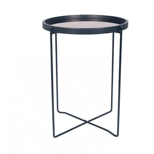 Pacific black & copper mirror round side table.