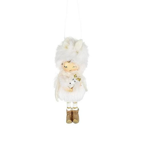 Little girl in fur coat hanging decoration