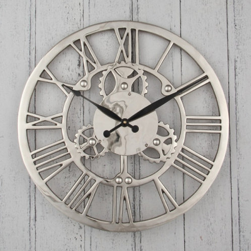 Shiney nickel cog design small round wall clock by Pacific