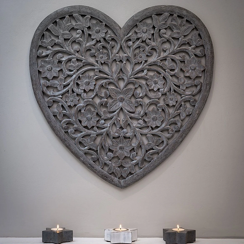 Grey heart handcarved wall panel