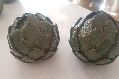 Green ceramic artichoke