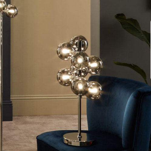 Vecchio smoke glass orb & chrome table lamp by Pacific