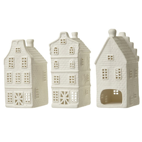 Porcelain House T Light Holder set of 3