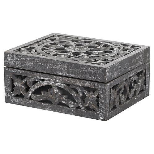 Carved antique mettallic wooden box