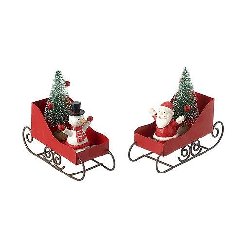 Metal Santa & Snowman set In Sleighs