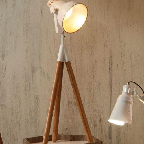 Pacific Larkin white metal & natural wood tripod table lamp