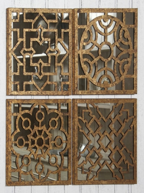 Set of 4 square Antique gold letal mirrored wall art by Pacific