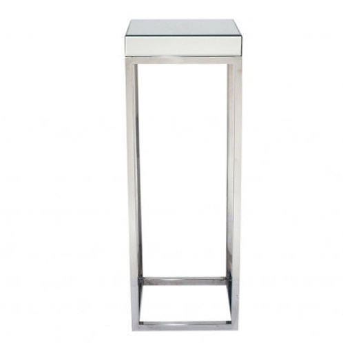 Pacific silver mirrored glass metal square large table