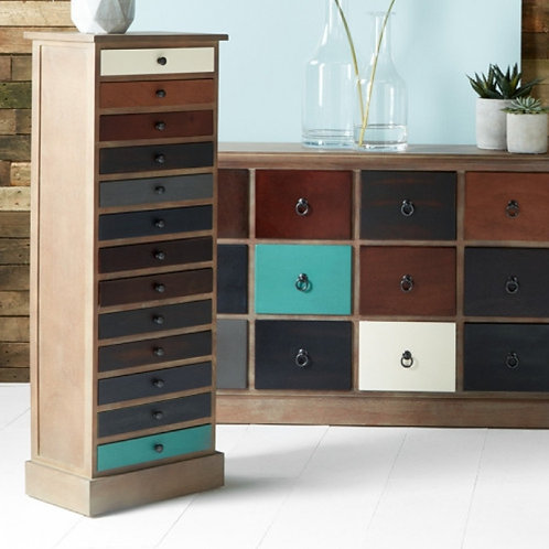 Pacific pine wood multicoloured 13 drawer unit