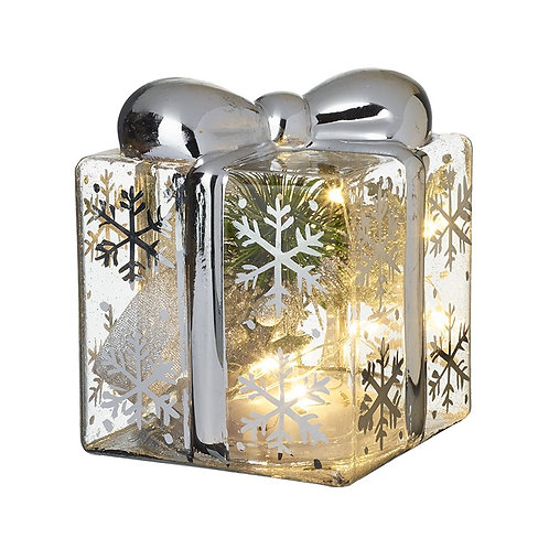 Light Up Glass Present With Snowflakes Small