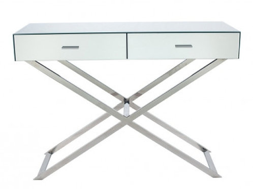 Pacific silver mirrored glass metal console table