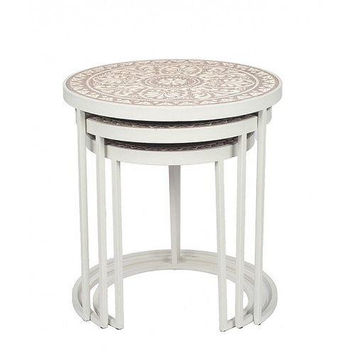 Pacific Antique white & cream wood & iron set of 3 tables