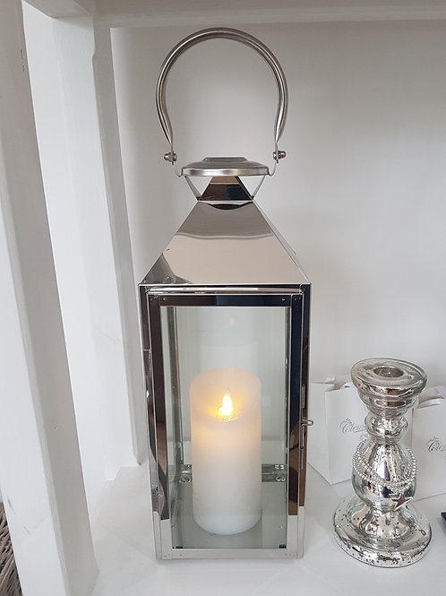 Stainless Steel Lantern With Wax Flickering Flame Candle