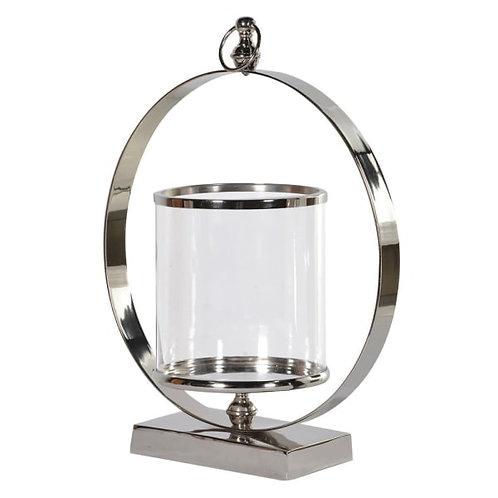 Large metal ring hurricane lamp
