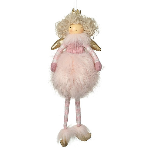 Hanging Pink Fluffy Angel With Gold Wing