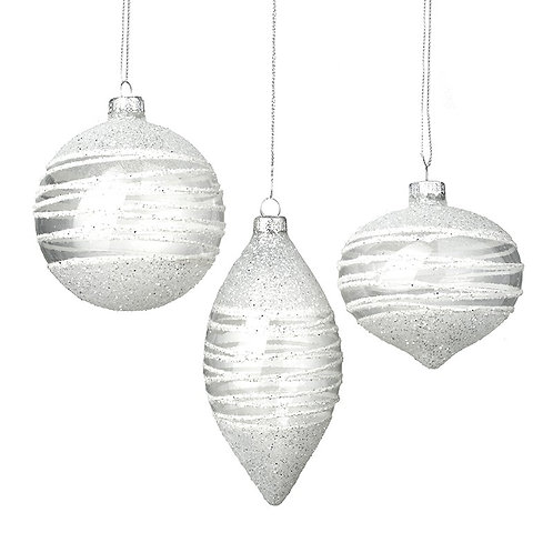 Set of 3 glittery baubles