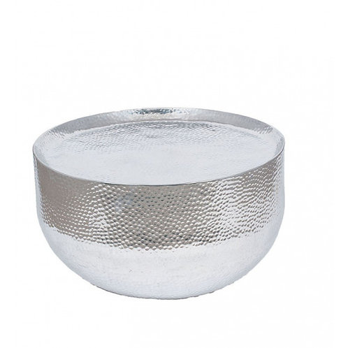 Pacific hammered & polished Aluminium small round rable