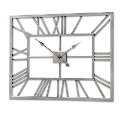 Silver Rectangular Skeleton Wall Clock